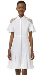 Prabal Gurung Shirtdress With Lace Shoulders White