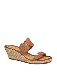 Jack Rogers Shelby Espadrilles Wedge Leather Sandals Brown