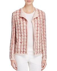 Basler Open Front Tweed Jacket Rose Multicolour