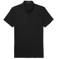 Theory Milten Slim Fit Poplin Trimmed Cotton Blend Pique Polo Shirt Black
