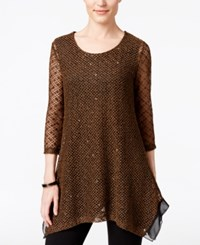 Jm Collection Sequined Knit Tunic Only At Macy's Willow Brown
