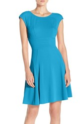 Women's Julia Jordan Cap Sleeve Fit And Flare Dress Blue