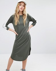 Daisy Street 3 4 Sleeve T Shirt Dress With Contrast Arm Tape Detail Khaki Green