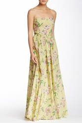French Connection Print Linen And Cotton Maxi Dress Yellow