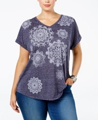 Styleandco. Style Co. Plus Size Medallion Print T Shirt Only At Macy's Industrial Blue