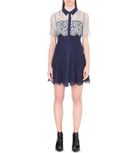 Whistles Charlotte Lace Shirt Dress Navy