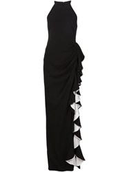 Badgley Mischka Ruffled Column Dress Black