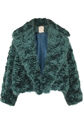 Roksanda Ilincic Bleeker Shearling Paneled Mohair Blend Jacket Blue
