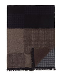 Bloomingdale's The Men's Store At Blocked Houndstooth Scarf Grey Brown Multi