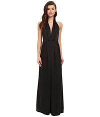 Jill Stuart Halter Plunging Neck Gown Black Women's Dress