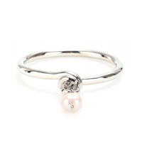 Makri For The Row White Gold Plated 950 Silver Knot Bracelet With Pearl