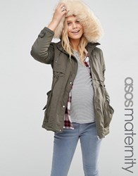Asos Maternity Ultimate Parka Khaki Green