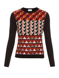 Red Valentino Intarsia Knit Wool Round Neck Top Multi