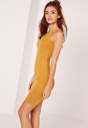 Missguided Jersey Racer Bodycon Dress Yellow Yellow