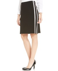 Jones New York Collection Petite Leather Side Trim Skirt