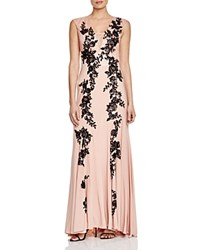 Sue Wong Sleeveless V Neck Lace Detail Gown Sandalwood