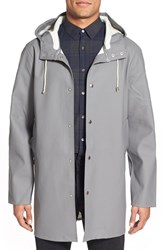 Men's Stutterheim 'Stockholm' Hooded Longline Raincoat Grey