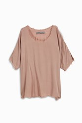 Raquel Allegra Cropped Fray T Shirt Purple