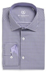 Bugatchi Men's Big And Tall Trim Fit Check Dress Shirt Orchid