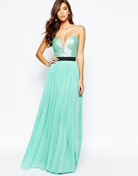 Rare Sweetheart Bandeau Maxi Dress With Sequin Top Mint Green