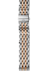 Michele 'Deco' 16Mm Two Tone Bracelet Watch Band Silver Rose Gold