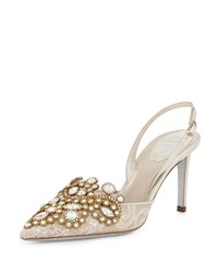 Rene Caovilla Jeweled Lace And Leather Halter Pump White Gold