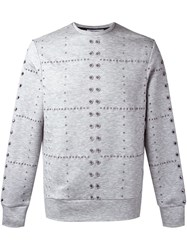 Tim Coppens Eyelet Crew Neck Jumper Grey