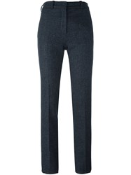 Victoria Beckham Plaid Skinny Trousers Blue