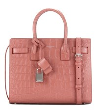 Saint Laurent Sac De Jour Baby Embossed Leather Tote Pink