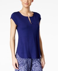 Alfani Cap Sleeve Pajama Top Only At Macy's Royal Ink