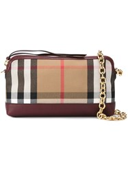 Burberry Checked Shoulder Bag Red