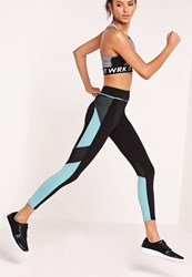 Missguided Active Mesh And Colour Block Gym Leggings Blue Blue