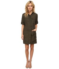 Kut From The Kloth Solange Button Down Tee Shirt Dress Olive Women's Dress