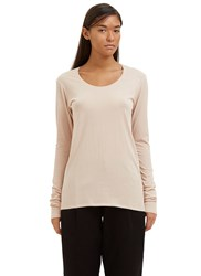Kowtow Building Block Long Sleeved Scoop Neck Top Pink