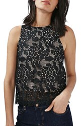 Topshop Women's Animal Lace Cross Back Sleeveless Top