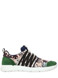 Msgm 10Mm Suede And Printed Canvas Sneakers Pink Green