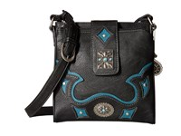 American West Lexington Organized Crossbody Black Turquoise Cross Body Handbags