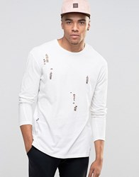 Jack And Jones Long Sleeve T Shirt With Distressed Detail Cloud Dancer White