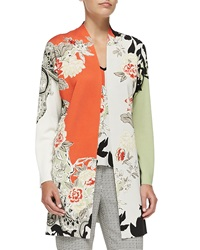 Etro Long Floral Colorblock Cardigan 46 12