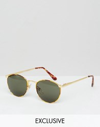 Reclaimed Vintage Round Sunglasses In Tort Brown