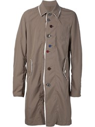 Undercover Contrast Button Coat Brown
