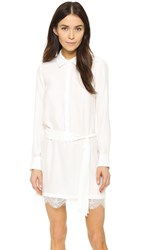 David Lerner Henley Shirtdress With Lace Soft White