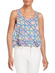 Amanda Uprichard Calista Geo Print Layered Cropped Tank Malibu