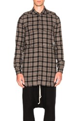 Rick Owens Field Shirt In Gray Black Checkered And Plaid Gray Black Checkered And Plaid