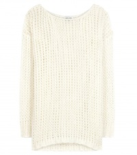 Saint Laurent Wool And Mohair Blend Sweater White