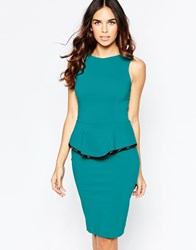 Vesper Sophie Peplum Midi Dress With Contrast Trim Detail Blue