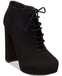 Steve Madden Women's Jolte Lace Up Platform Block Heel Booties Women's Shoes Black Nubuck