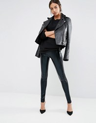 New Look High Shine High Waisted Leggings Black