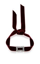 Fallon Toria Buckle Velvet Choker In Bordeaux Red