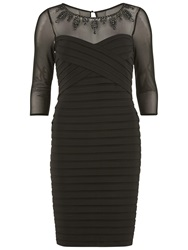 Gina Bacconi Banded Dress With Beaded Sheer Yoke Black